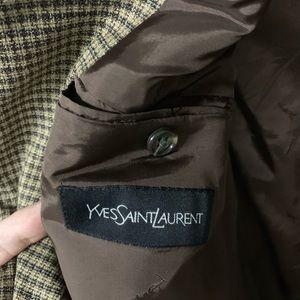 Yves Saint Laurent Suits & Blazers - Yves Saint Laurent Brown Checker Two-Button Blazer